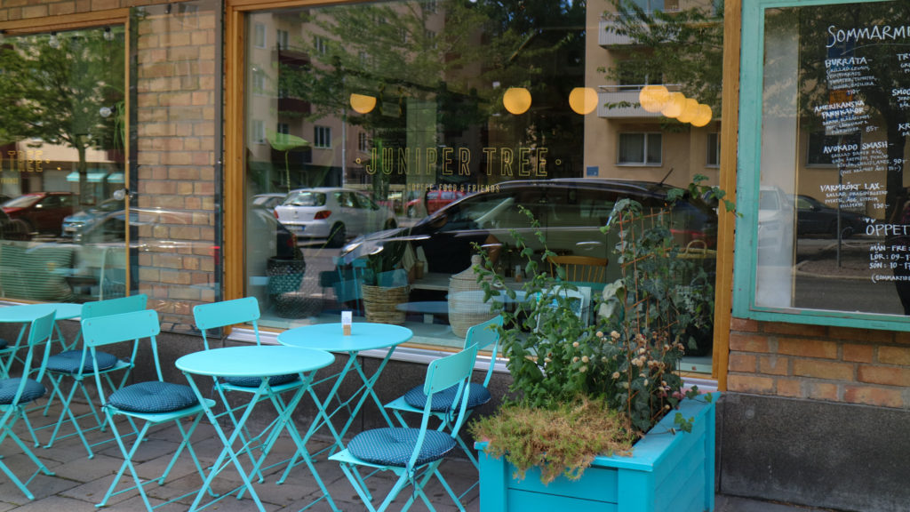 Café i Solna fika juniper tree